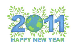 Happy New Year 2011 Green Planet. Happy New Year 2011 Go Green Planet with Leaves Stock Photo