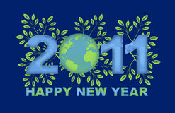 Happy New Year 2011 Green Planet Blue Stock Photos