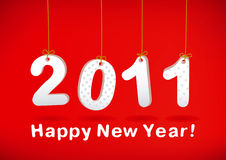 Happy New Year 2011 greeting card. On red background Stock Images