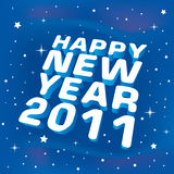 Happy New Year 2011 greeting card. On blue background Royalty Free Stock Photo