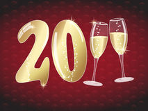 Happy new year 2011 illustration. With champagne glasses on red background with presents Stock Photo