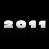 Happy new year 2011 label. On black background royalty free illustration