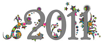 Happy new year 2011 label. On white background Royalty Free Stock Photos