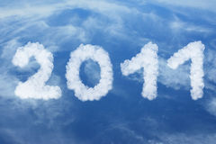 Happy new year 2011 made of clouds Royalty Free Stock Photography