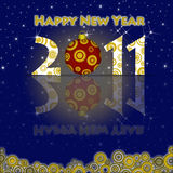 Happy New Year 2011 Ornament and Circels. Happy New Year 2011 Ornament and Circles Blue Background Royalty Free Stock Image
