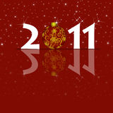 Happy New Year 2011 Ornament and Sparkles. Red Background royalty free illustration