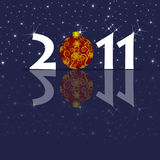 Happy New Year 2011 Ornament and Sparkles Blue Stock Photo