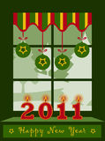 Happy new year 2011 window. Illustrated happy new year 2011 background vector illustration