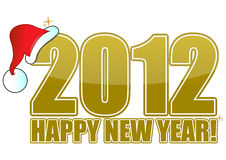 Happy new year 2012. 2012 Happy new year golden sign with santa's hat isolated over a white background vector illustration