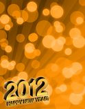Happy New Year 2012. Card over party lights stock illustration