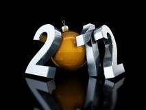 Happy new year 2012. On black background Royalty Free Stock Images