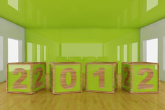Happy new year 2012. Cube shape on a room Royalty Free Stock Image