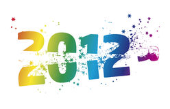 Happy new year 2012. Sylvester cork popping through 2012 royalty free stock images