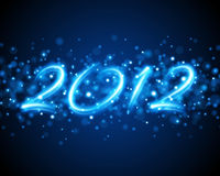 Happy New Year 2012. A Happy New Year Message for 2012 on a blue background Stock Photos