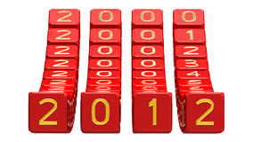 Happy New Year 2012. Field of numbers from 2000 to 2012, 3d render Stock Photos