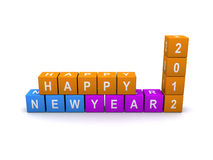 Happy New Year 2012. Stacked square colorful blocks arranged to say happy new year 2012 Stock Image