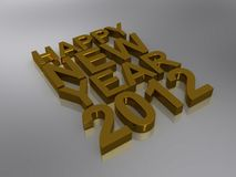 Happy New Year 2012. Three dimensional illustration of words, Happy New Year 2012 in gold on light background Stock Image