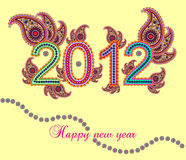 Happy new year 2012. New year 2012 with paisley design Royalty Free Illustration