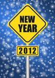 Happy new year 2012. Traffic sign stock illustration