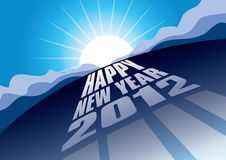 Happy New Year 2012. Illustration of blue sunrise over Happy New Year 2012 background Stock Photography