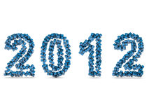 Happy new year 2012. New year 2012 illustrated with blue cubes Royalty Free Stock Images