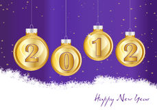 Happy new year 2012. Christmas background with shades of purple and decorative balls stock illustration