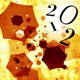 Happy new year 2012. Creative gretting card of 2012, with abstract cubes in movement stock illustration