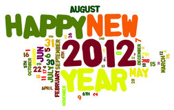 Happy New Year 2012. Concept of 2012 happy new year theme (word cloud isolated on white stock illustration