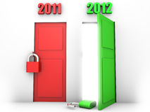 Happy new year 2012. Happy new year symbolized by an open green door showing the passing from 2011 to 2012 Royalty Free Stock Photos
