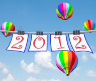 Happy new year 2012. With colorful balloon vector illustration