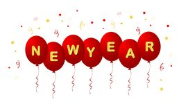 Happy new year 2012. New year balloons with golden letters and confetti vector illustration