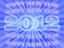 Happy New year 2012. A blue background for Happy New Year in 2012 Royalty Free Stock Photos