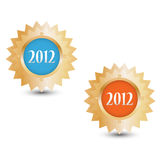 Happy new year 2012 badges Royalty Free Stock Photography