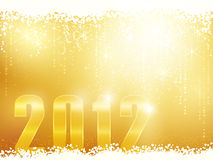Happy New Year 2012 card. Festive golden sparkling new years background with snow, shiny stars and the number 2012 stock illustration