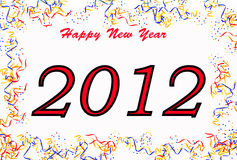 Happy new year 2012 concept. 2012 text with confetti and streamers border Stock Photography