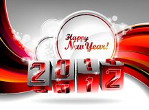 Happy New Year 2012 design. Vector Happy New Year 2012 design with swirl cubes on a red background Stock Photography