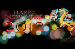 Happy new year 2012 with dragon statue Stock Photography
