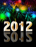 Happy new year 2012 with fireworks. Background stock illustration