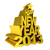 Happy new year 2012 gold. Happy new year 2013 gold Royalty Free Stock Photography