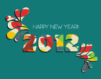 Happy New Year 2012 in green background. Celebration of New Year 2012 with color splashs in green background. Vector file available Royalty Free Stock Image