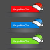 Happy New Year 2012 Labels with santa hat Royalty Free Stock Photo