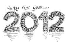 Happy new year 2012 - pencil illustration Royalty Free Stock Photography