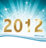 Happy new year 2012 with ray lighting. Background Royalty Free Stock Images