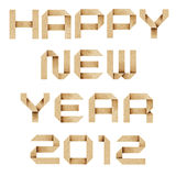 Happy new year 2012  Recycled Paper Craft. Happy new year 2012  Recycled PaperCraft Background Stock Photos
