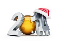 Happy new year 2012 santa hat 3d Illustrations. On a white background Royalty Free Stock Images