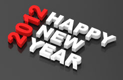 Happy New Year 2012, text on black. Computer generated 3D photo rendering Royalty Free Stock Images
