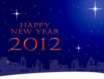 Happy new year 2012 word on the city and sky. Background, New year card background Stock Photography