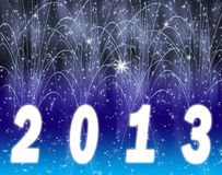 Happy new year 2013. White firework on a background Stock Image