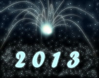 Happy new year 2013. White firework on a background Royalty Free Stock Photos