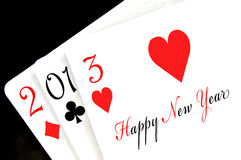 Happy new year 2013. Written in playing cards Royalty Free Stock Images